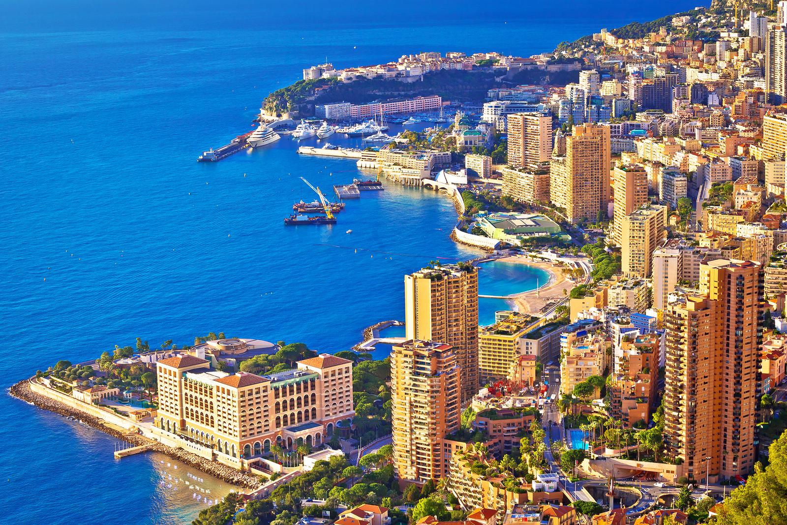 Monaco And Monte Carlo Cityscape And Harbor Aerial View, Princip