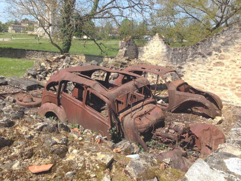 Oradour-sur-Glane - burnt out cars.